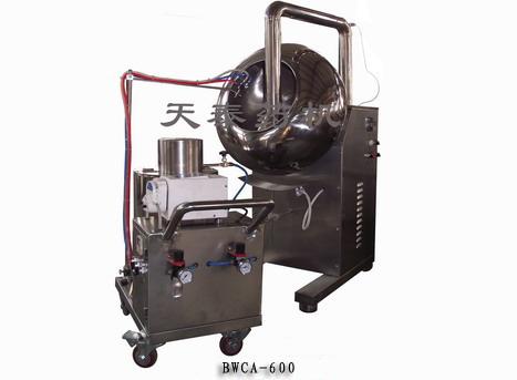 主电机可变频调速,它是用电器自动控制的办法将包衣辅料用高雾化